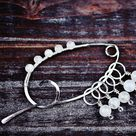 Celestial II - Sterling Silver/Copper & Genuine Blue Moonstones - Fibula - Shawl Pin/Stitch Markers