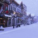 Christmas Snow Street Town Backdrop for Picture S-3184