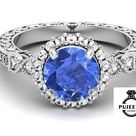 Round AAA tanzanite gemstone ring made of 925 sterling silver and studded with white moissanite,Enga