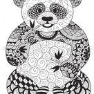 Vector zentangle panda coloring page