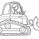 Kostenlose Malvorlage Transportmittel: Baggerfahrer zum Ausmalen