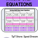 Solving Multi-Step Linear Equations Cut and Paste Activity Includes Digital Drag and Drop on Google