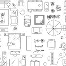 Vector illustration of furniture to make a floor plan of a house. Jpg...
