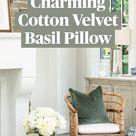 Charming Cotton Velvet Basil Pillow