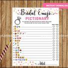 Bridal Shower Wedding Emoji Pictionary Game, EMOJI Pictionary, Pink and Gold, diy Bridal Shower Printables, Instant Download