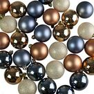 Copper, Blue, Gold & Pewter Assorted Shatterproof Baubles - 30 x 60mm