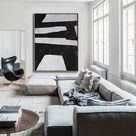 Large minimalist painting on canvas, vertical abstract painting, hand painted original art. FREE shipping. Ethan Hill Art No.H15V