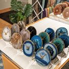 NATURAL AGATE CLOCK,Agate Desk Clock,Boho Decor,Rock Enthusiast Gift,Geologist Gift,Modern Boho Clock,Indie Office Decor,Clock Lovers Gift