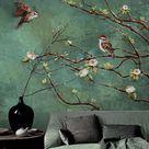 Vintage Dark Birds and Flowers Wallpaper, Nature Wall Mural, Floral Wall Art,Wall Decal, Dark Green Wall Sticke