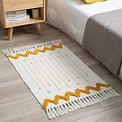 Boho Small Rugs for Bedroom White Yellow Bathroom Rugs Bohemian Bath Mat Woven Tassel Throw Rugs 2'x3', Washable Modern Moroccan Kitchen Runner Rug Accent Fringe Area Rug for Doorway Laundry Room