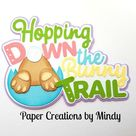 Elite4u Mindy EASTER Hopping Bunny Trail Title Premade paper piecing for scrapbook page album border die cut embellishment