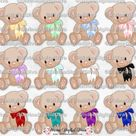 Brown Teddy Bear with Bows Royal Blue Red Purple Pink Teal Black White Mint Lavender Yellow | Clipart Instant Download