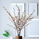Artificial Cherry Blossom Flowers Extra Long Branches, Tall Stems Silk Fake Plum for Tall Vase, Faux Peach Floral Arrangement for Home Indoor Wedding Decor, 4 PCS 51.2