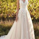 Wunderschöne Applikationen Spitze Brautkleider V Ausschnitt Tüll Sweep T