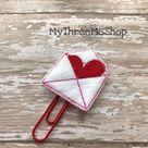 Love Letter Feltie Planner Clip, Paperclip Bookmark Planner Accessories, Valentines Feltie Planner P
