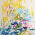 Original Abstract Painting by Nicole Leidenfrost   Abstract Expressionism Art on Canvas   Thailandische Blumenernte