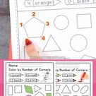 Color By Number Of Corners Shapes Worksheets