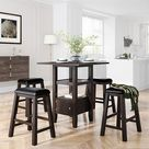 5-Pieces Counter Height Wood Dining Table Set With 4 Stool,Square,MDF (Brown)