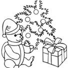 Santa is decorating Christmas tree coloring page | Free Printable Coloring Pages