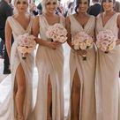 Sheath/Column Ruched Chiffon Sleeveless V neck Sweep/Brush Train Bridesmaid Dresses   Ivory / US2