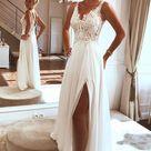 Elegant Chiffon Lace Spaghetti straps Appliques Beach Wedding Dresses with Split, SW303 - US4 / As Picture
