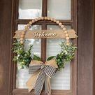 Door hanger, door sign, front door sign, door wreath, hoop wreath, beaded door hanger, bead wreath, wooden hoop wreath, Mothers Day gift