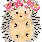 Flower crown hedgehog Sticker by MyLastHigh