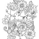Adult Coloring Page - 2 Birds and Butterfly floral design Digital Download