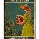 Retro Teal In Their Souls Gardening Poster