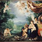 Anonymous, 1580 - The Rest of the Holy Family on the Flight into Egypt - fine art print - Canvas print / 80x60cm - 31x24