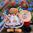 Patriotic Pinecone Flower Arrangement, 4th of July Pine Cone Flowers