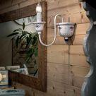 Ferroluce Sanremo Wandleuchte weiß, Handgefertigt in Italien, Badezimmer, Keramik Wandlampe E14