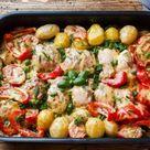 Ein Blech Rezepte Überbackenes Hähnchen mit Gemüse