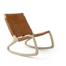 Rocker Chair by Shawn Place for Mater   Matte Lacquered Oak   Harness Whiskey Full Grain Leather