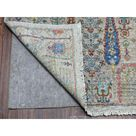 6'x9' Gray with Pop of Color Willow and Cypress Tree Design Hand Knotted Oriental Rug