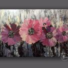 Purple Lilac Flowers Original Abstract Painting,Oil Acrylic Paintings Canvas Wall Painting,Modern home and office purple painting art wall