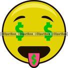 Money Emoji Emoticon SVG Design Rich Icon Face Cartoon Character Hustler 100 Dollar Bill Hip Hop Hustle Hustler Symbol SVG Cut File pg PNG