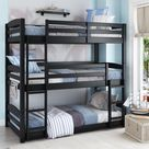 Kids Unique Twin Over Twin Triple Convertible Small Space Saving Bunk Bed - Black