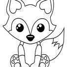 Free Printable Baby Fox Coloring Page