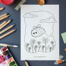 Bumblebee printable colouring page, Cute bee digital download colouring sheet