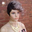 New Arrival // Short Razor Cut Full Wig, Pixie Cut Hairstyle, 100%  Human Hair Wig, Ombre Silver Gray, Glory Tress, Wavy Wig // VICTORY