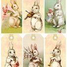 Vintage Easter Bunny Tags – free printables