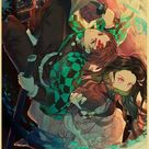 Back to College Demon Slayer Kimetsu no Yaiba Tanjirou Nezuko Anime Vintage Posters Home Room Art Wall Painting on Canvas   60X90cm / E