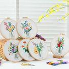 Embroidery Kit Beginner, Flowers Embroidery kit, Hand Embroidery kit, Modern Embroidery, Hoop Art Embroidery Kit, DIY Embroidery Kit Designs - Pattern B / 8 Bamboo Hoop