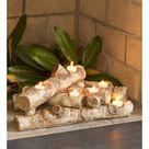 Plow & Hearth - Elegant Logs Fireplace / Hearth Candle Holder, Oak