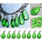 Emerald Green Chandelier Drops Glass Crystals  Droplets Oval Beads Christmas Tree Wedding Craft Light Lamp Spare Lighting Antique Parts