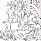 Walt Disney Characters Photo: Walt Disney Coloring Pages - Princess Ariel & Flounder