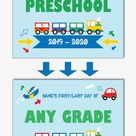 Printable First Day of Preschool Sign, Reusable Back to School Sign Template, Digital Transportation Sign (Instant Download Editable PDF)