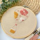 Floral Hot Air Balloon Embroidery PDF PDF Pattern for | Etsy