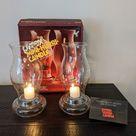 Pyrex Mini Hurri Candle Set ~ New in Box ~ Vintage Glass Hurricane Lamps ~ Set of 2